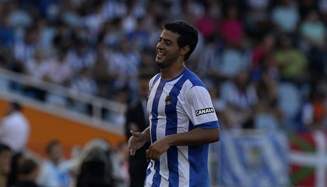 Real Sociedad's Carlos Vela celebrates scoring a goal against Getafe during their Spanish first division soccer match at Anoeta stadium in S