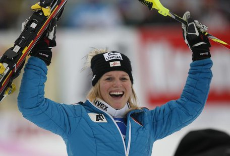 Austria's Marlies Schild after winning the women's giant slalom World Cup race in the Tyrolean ski resort of Lienz December 29, 2013. REUTER