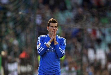 Real Madrid's Gareth Bale reacts after missing a scoring opportunity against Real Betis during their Spanish First Division soccer match at