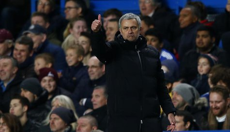 Chelsea's manager Jose Mourinho gestures during their English Premier League soccer match against Manchester United at Stamford Bridge in Lo