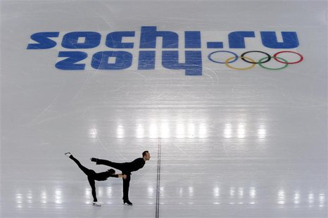 Maylin Wende and Daniel Wende of Germany skate during a pairs figure skating training session at the Iceberg Skating Palace, in preparation