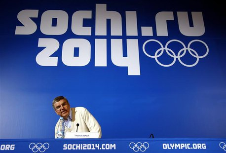 International Olympic Committee (IOC) President Thomas Bach arrives to attend a news conference in Sochi, February 23 2014. REUTERS/Eric Gai