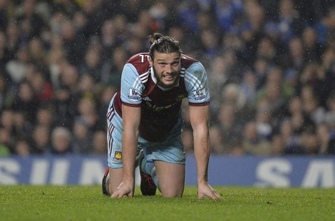 West Ham United's Andy Carroll reacts during their English Premier League soccer match against Chelsea at Stamford Bridge in London, January