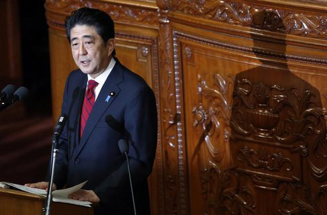 Japan's Prime Minister Shinzo Abe makes a policy speech during the start of an ordinary session at the lower house of the parliament in Toky