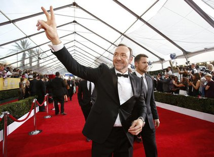 "Actor Kevin Spacey, from the drama series ""House of Cards,"" arrives at the 20th annual Screen Actors Guild Awards in Los Angeles, California"