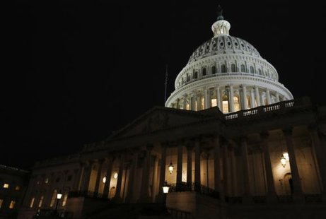 The U.S. Capitol building is seen before U.S. President Barack Obama delivers his State of the Union address in front of the U.S. Congress, on Capitol Hill in Washington January 28, 2014. CREDIT: REUTERS/JIM BOURG