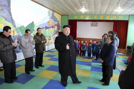 North Korean leader Kim Jong Un visits an orphanage in this undated photo released by North Korea's Korean Central News Agency (KCNA) in Pyo