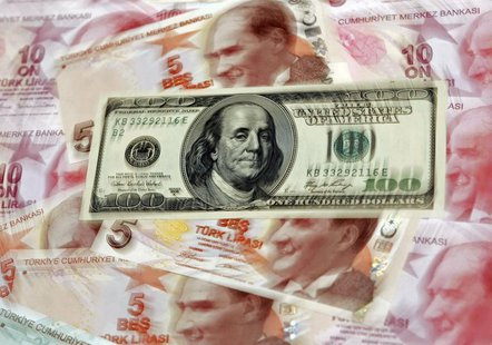 A U.S. 100 dollar banknote is seen on top of 5 and 10 lira banknotes in this illustration picture taken in Istanbul January 28, 2014. REUTER