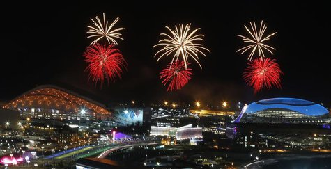 Fireworks are seen over the Olympic Park during the rehearsal of the opening ceremony at the Adler district of Sochi, February 4, 2014. REUT