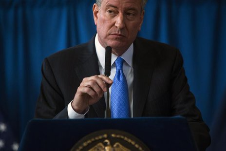 New York Mayor Bill de Blasio speaks at a news conference in the Brownsville neighborhood in the borough of Brooklyn, New York January 30, 2
