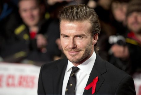 "Former England soccer captain David Beckham attends the world premier of the film ""The Class of 92"" in London December 1, 2013. REUTERS/Neil"