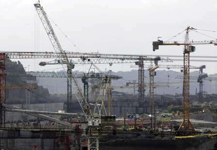 Crane towers are seen at the construction site of the Panama Canal Expansion project on the Atlantic side on the outskirts of Colon City Jan