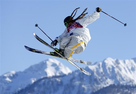 Swedish skier Henrik Harlaut goes off a jump during slopestyle skiing training at the 2014 Sochi Winter Olympics in Rosa Khutor February 5,