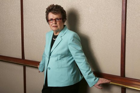 Former tennis player Billie Jean King poses for a portrait while promoting PBS's American Masters series in Beverly Hills, California August