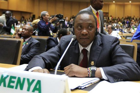 Kenya's President Uhuru Kenyatta attends the opening ceremony of the 22nd Ordinary Session of the African Union summit in Ethiopia's capital