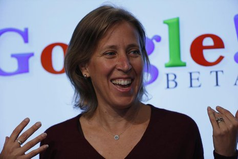 Susan Wojcicki, senior vice president of Ads and Commerce for Google, speaks at the garage where the company was founded on Google's 15th an