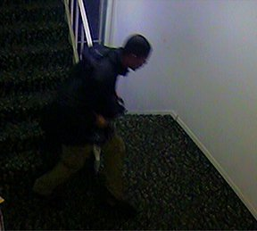 A suspect is seen in a still from surveillance footage.