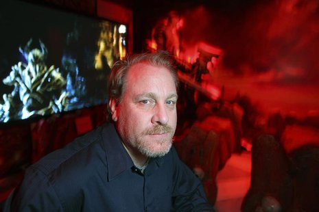 Former MLB player Curt Schilling poses in a game demonstration room at the Electronic Entertainment Expo, or E3, in this photo taken June 9,