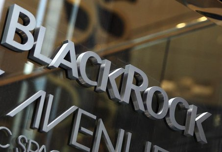 The BlackRock logo is seen outside of its offices in New York January 18, 2012. REUTERS/Shannon Stapleton