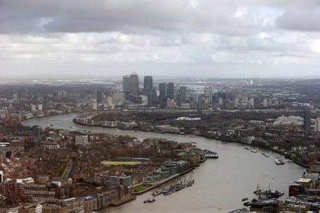 Buildings in the Canary Wharf business district are seen from The View gallery at the Shard, western Europe's tallest building, in London Ja