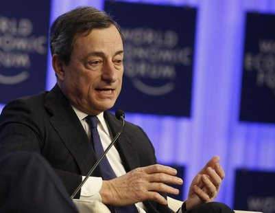 European Central Bank (ECB) President Mario Draghi attends a session at the annual meeting of the World Economic Forum (WEF) in Davos Januar