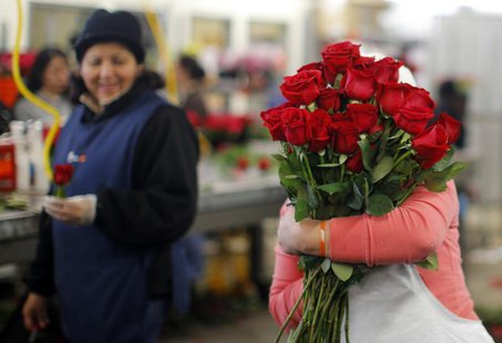 A worker carries an armload of red roses at Winston Flowers in Boston, Massachusetts February 13, 2013, the day before Valentine's Day. Acco