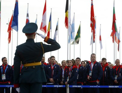 Members of the British Olympic Team attend a welcoming ceremony for the team in the Athletes Village, at the Olympic Park ahead of the 2014