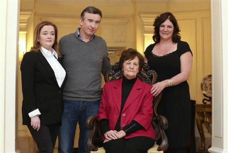 Philomena Lee (2nd R) poses with her daughter Jane (R), actor Steve Coogan (2nd L) and Susan Lohan (L), founder of Adoption Rights Alliance,