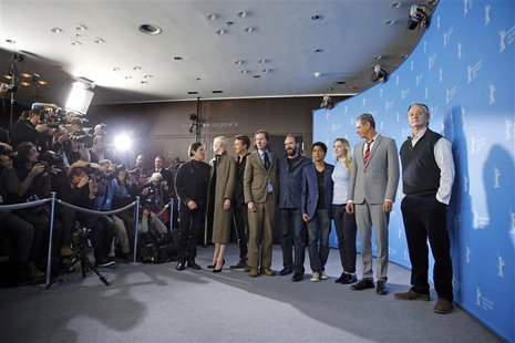 Actors Willem Dafoe, Tilda Swinton, Edward Norton, director Wes Anderson, Ralph Fiennes, Tony Revolori, Saoirse Ronan, Jeff Goldblum and Bil
