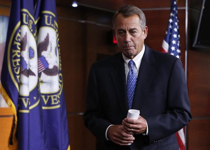 U.S. House Speaker John Boehner (R-OH) leaves after his news conference on Capitol Hill in Washington January 16, 2014. REUTERS/Yuri Gripas