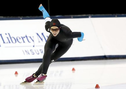 Dec 29, 2013; Kearns, UT, USA; Kelli Gunther competes in the 1000m during the U.S. Olympic speedskating trials at Utah Olympic Oval. Mandato