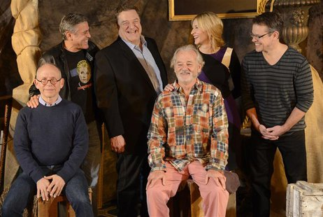 Cast members (L-R) Bob Balaban, George Clooney, John Goodman, Bill Murray, Cate Blanchett, Matt Damon and Grant Heslov are pictured during a