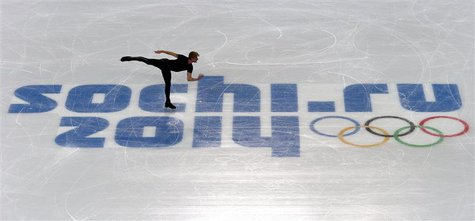 Evgeni Plushenko of Russia skates during a figure skating training session at the Iceberg Skating Palace in preparation for the 2014 Sochi W