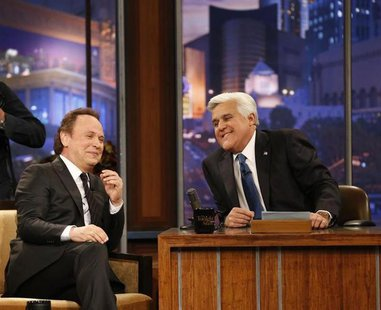 "Host Jay Leno (R) is pictured with actor Billy Crystal during a commercial break while taping the last episode of ""The Tonight Show with Jay"