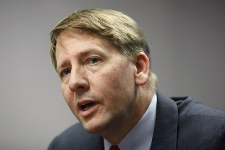 Consumer Financial Protection Bureau (CFPB) Director Richard Cordray answers questions at the Reuters Washington Summit in Washington, Octob