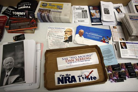 The Republican party information table is seen at a Romney/Ryan office as volunteers get in their last efforts the day before election day i