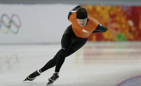 Sven Kramer of the Netherlands skates during a training session at the Adler Arena ahead of the 2014 Sochi Winter Olympics, February 7, 2014