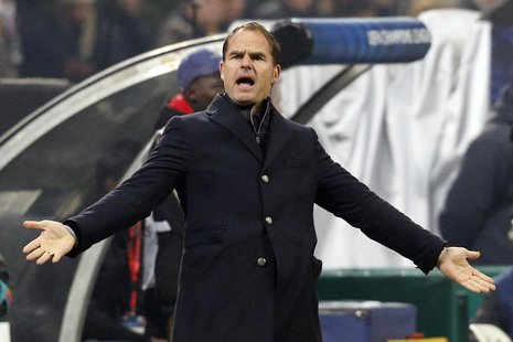 Ajax Amsterdam's coach Frank De Boer reacts during their Champions League group H soccer match against AC Milan at the San Siro stadium in M