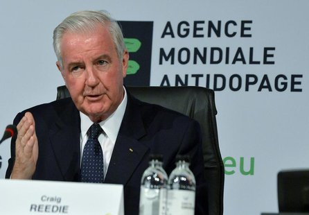 Newly elected World Anti-Doping Agency (WADA) President Craig Reedie gestures during the 2013 World Conference on Doping in Sports in Johann