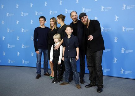 Cast members Georg Arms and Ivo Pietzcker (front, L-R), cameraman Jens Harant, Nele Mueller-Stofen, Luise Heyer, director Edward Berger and