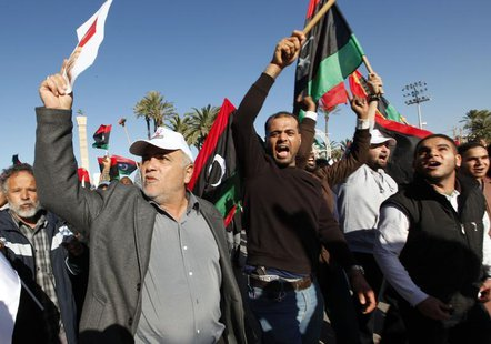 Demonstrators take part in a protest against the General National Congress (GNC) at the Martyrs' Square in Tripoli February 7, 2014. . REUTE