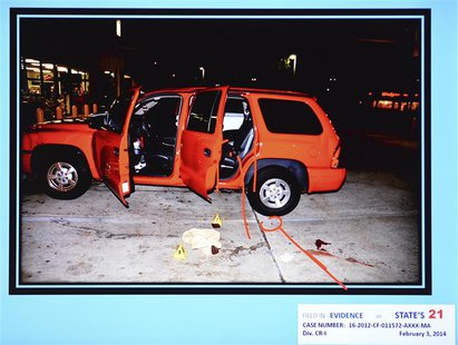 A state evidence photo presented February 7, 2014 during the murder trial of Michael Dunn in Jacksonville, Florida, shows the red Durango SU