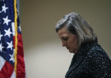 U.S. Assistant Secretary of State Victoria Nuland leaves after a news conference at the U.S. embassy in Kiev February 7, 2014. REUTERS/Gleb