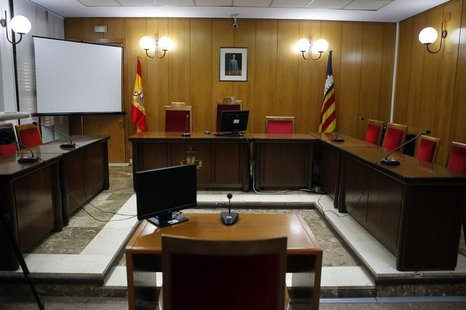An overall view of the courtroom in the Palma de Mallorca courthouse is seen one day before Spain's Princess Cristina is due to testify, Feb
