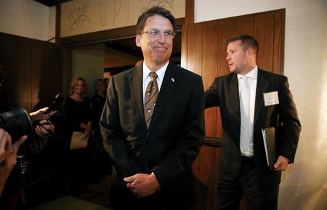 North Carolina governor Pat McCrory arrives for a celebration for evangelist Billy Graham's 95th birthday in Asheville, North Carolina Novem