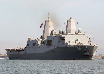 The amphibious transport dock ship USS Green Bay (LPD 20) returns to Naval Base San Diego as part of the Peleliu Amphibious Ready Group. The ready group is returning from a western Pacific deployment where they performed maritime security operations, theater cooperation efforts and operational support in the U.S. 5th and 7th Fleet areas or responsibility. (U.S. Navy photo by Mass Communication Specialist 2nd Class Rosalie Garcia/Released)