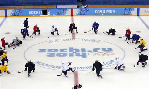 Members of the team USA women's ice hockey team attend a practice session in the Shayba Arena ahead of the 2014 Sochi Winter Olympics February 7, 2014. REUTERS/Laszlo Balogh