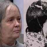 Jamie Lewis in court in California side by side with mugshot of Judy Lynn Hayman taken at the time of her arrest.