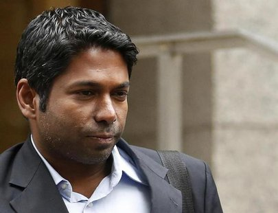 Rengan Rajaratnam, the younger brother of imprisoned hedge fund manager Raj Rajaratnam, departs Manhattan Federal Court in New York, March 2