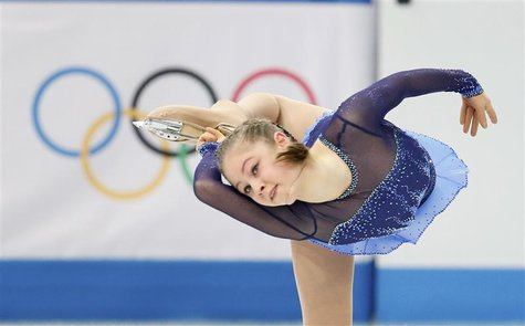 Yulia Lipnitskaya of Russia competes during the figure skating team ladies short program at the Sochi 2014 Winter Olympics, February 8, 2014
